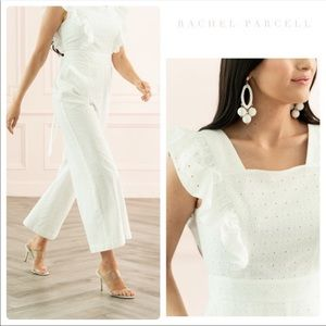 Rachel Parcell White Ruffle Sleeve Lace Jumpsuit